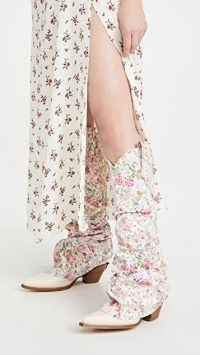 R13 Mid Cowboy Sleeve Boots ~ floral print denim overlay