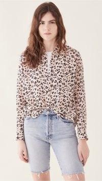 RAILS Anna Button Down Rose Floral Cheetah – pink wild animal print shirt
