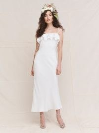 REFORMATION Ramona Dress ~ summer occasion dresses ~ ruffled neckline ~ strappy slip