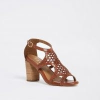 Ravel beige cut out leather heel block sandal ~ brown woven front sandals