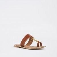 Ravel brown croc chain sandal ~ summer flats