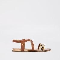 Ravel brown leather leopard print sandal ~ flat animal print sandals