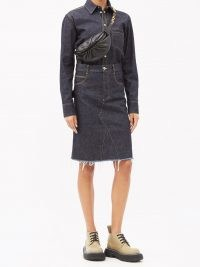 BOTTEGA VENETA Raw-hem denim skirt ~ dark blue skirts