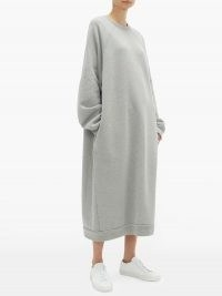 RAEY Recycled-yarn cotton-blend sweatshirt dress / grey cosy oversized dresses / comfort dressing / loungewear clothing