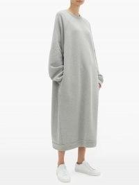 RAEY Recycled-yarn cotton-blend sweatshirt dress / grey cosy oversized dresses / comfort dressing / loungewear clothing