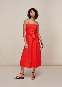 WHISTLES LINEN TIE FRONT STRAPPY DRESS RED / bright strappy summer dresses