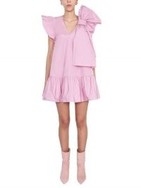 RED VALENTINO ABITO IN TAFFETÀ CON FIOCCO E BALZA ~ pink statement bow dresses ~ ruffled fashion with volume
