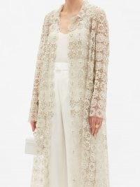 BIYAN Resendea beaded macramé-lace coat / semi sheer crystal embellished coats