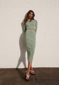 MISSGUIDED re_styld green rib knit midi skirt ~ ribbed skirts