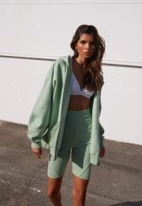 MISSGUIDED re_styld green zip through oversized hoodie