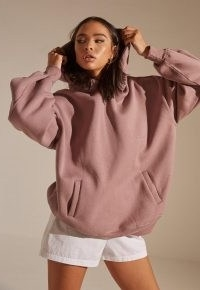 MISSGUIDED re_styld mauve pocket oversized hoodie ~ women's sustainable pullover hoodies