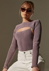 MISSGUIDED re_styld mauve rib layered knit bodysuit | ribbed bodysuits