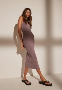 MISSGUIDED re_styld mauve rib strappy midaxi dress ~ ribbed cami strap dresses