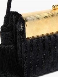 BIENEN-DAVIS Régine black striped velvet minaudière clutch
