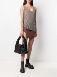 Rick Owens side-slit organic-cotton skirt | cut out hem mini skirts