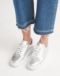 JIGSAW RIVA LEATHER PLATFORM TRAINER Silver ~ sports luxe trainers