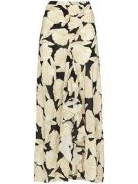 Rixo seashell-print midi skirt | front ruffle skirts