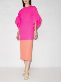 Roksanda Garance two-tone dress – volume sleeve open back dresses – pink and orange colour block clothing