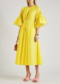 ROKSANDA Iosefina yellow flared poplin midi dress ~ romantic style occasionwear ~ spring occasion dresses