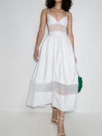 Rosie Assoulin tulle panel dress ~ semi-sheer spaghetti strap fit and flare dresses