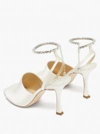 JIMMY CHOO Sae crystal-embellished satin sandals in ivory