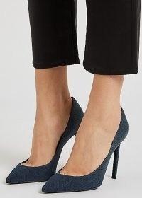 SAINT LAURENT Anja 100 blue denim pumps ~ blue pointed stiletto heel court shoes ~ high heeled courts