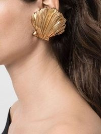 Saint Laurent oversize shell earrings / statement jewellery