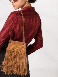 Saint Laurent small Grace fringed shoulder bag ~ brown boho style fringe bags