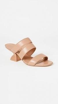 Salvatore Ferragamo Steffie 55mm Mules New Blush – triple strap sculpted heel sandals