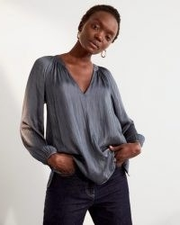JIGSAW SATIN GATHERED BLOUSE SEAWEED ~ fluid fabric V-neck blouses