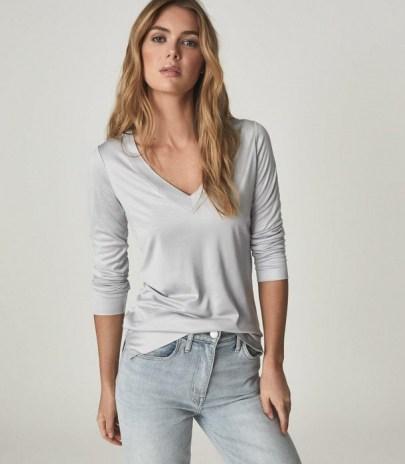 REISS SELENA JERSEY V-NECK TOP LIGHT BLUE ~ wardrobe essential - flipped