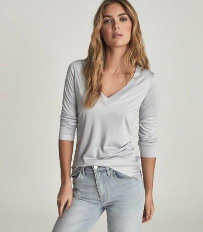 REISS SELENA JERSEY V-NECK TOP LIGHT BLUE ~ wardrobe essential