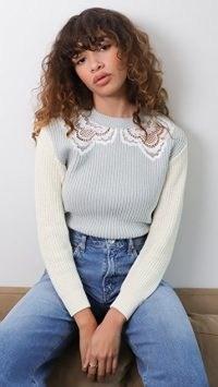 Self Portrait Guipure Sweater in Pistachio / colour block sweaters