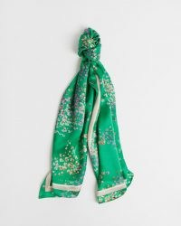 TED BAKER SABREEN Serendipity long silk scarf / green floral scarves