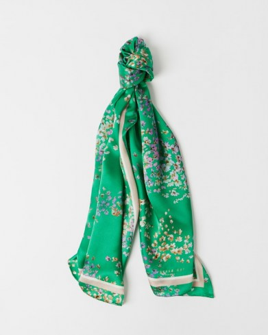 TED BAKER SABREEN Serendipity long silk scarf / green floral scarves - flipped