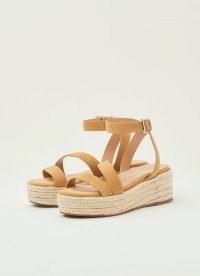L.K. BENNETT SIENA TAN SUEDE ASYMMETRIC STRAP ESPADRILLES ~ light brown strappy jute platform sandals