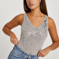 RIVER ISLAND Silver sequin stitch vest top / shimmer and shine in this sparkling sequinned tank