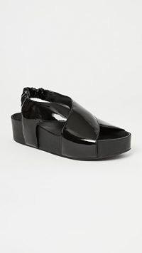 Simon Miller Vegan Cross Dip Slides / chunky black patent faux leather slingbacks