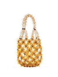 Simone Rocha mini beaded flower bucket bag / small amber acrylic flotal bags