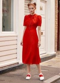 L.K. BENNETT SINA RED SILK-COTTON MIDI DRESS / bright vintage style dresses / retro fashion