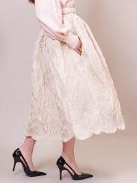 sister jane DREAM Honeyed Jacquard Midi Skirt ~ full scalloped-hem skirts