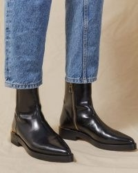 JIGSAW SKYE ANKLE BOOT LEATHER ~ black high shine pointed toe boots