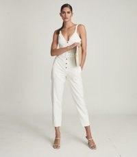 REISS SOLA BUTTON THROUGH JUMPSUIT WHITE ~ summer jumpsuits