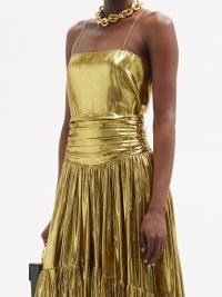 ALEXANDRE VAUTHIER Square-neck silk-blend lamé camisole ~ metallic-gold camisoles