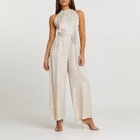RIVER ISLAND Stone halter jacquard jumpsuit / halterneck all-in-one with zebra stripes and self tie waist