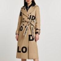 River Island Stone word printed trench coat | logo print tie waist coats