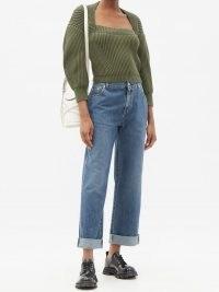 ALEXANDER MCQUEEN Straight-leg boyfriend jeans ~ blue pre-washed denim