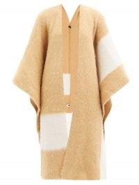 JOSEPH Striped felted alpaca-blend cape ~ camel coloured capes