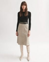 JIGSAW SUEDE MIDI SKIRT in Light Taupe ~ luxe A-line skirts