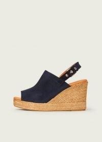 L.K. BENNETT SUMMER NAVY SUEDE ESPADRILLE WEDGES ~ wedge heel peep toe slingbacks ~ dark blue wedged sandals